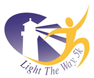"The logo for Light the Way 5K. It is the outline of a cartoon figurine filled with solid yellow running while his leg starts to wrap around the CLB purple lighthouse logo. The words ""Light the Way"" curve around the bottom."