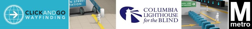 ClickAndGo Wayfinding, Columbia Lighthouse for the Blind, & WMATA Partnership Logo