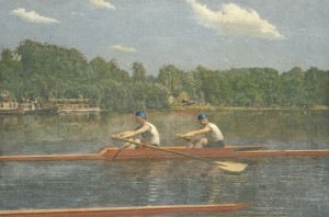 A painting from 1872 shows two men rowing a competitive skiff down a river
