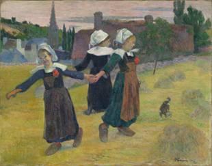"Image of Paul Gauguin's painting ""Breton Girls Dancing"" from 1888"