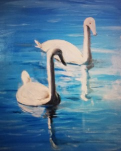 A picture drawn by Lawrence Harrison of two swans swimming on a body of water